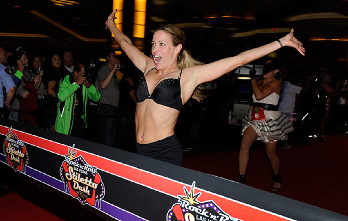 Hamilton returned to Las Vegas many times after her first encounter with an escort. Here she runs in the Rock 'n' Roll Las Vegas Stiletto Dash.