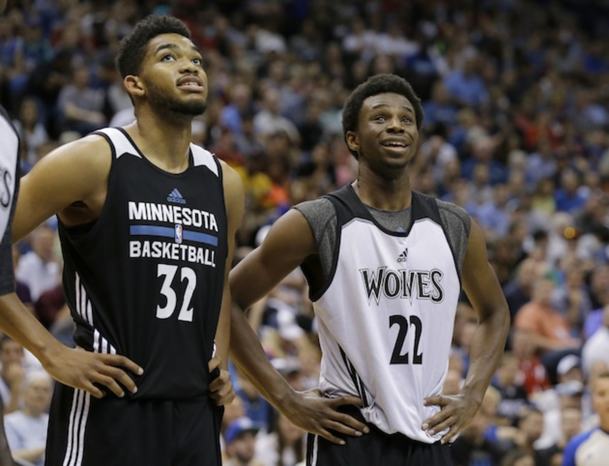 Karl-Anthony Towns (l) and Andrew Wiggins (r) have their sights set on something higher.