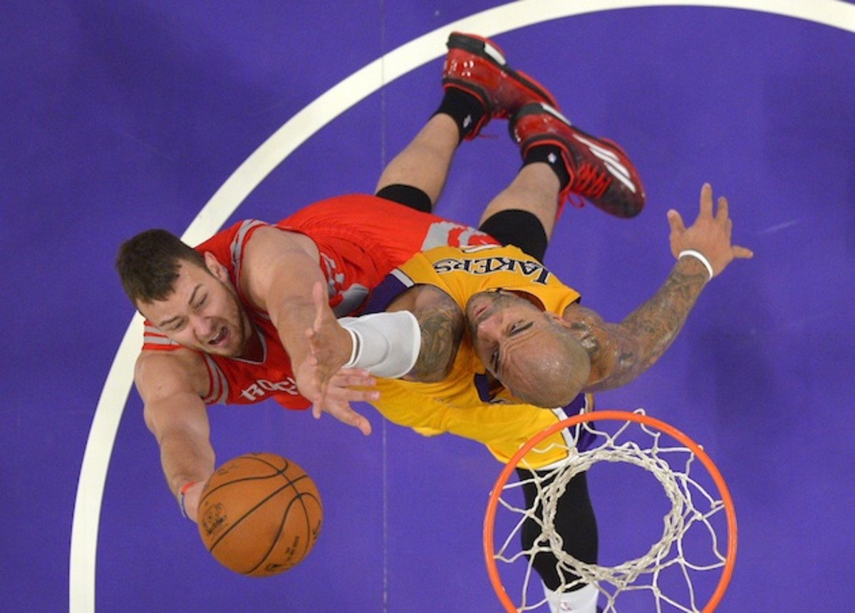Donatas Motiejunas (l) needs to provide quality minutes for the Rockets to stay in contention.