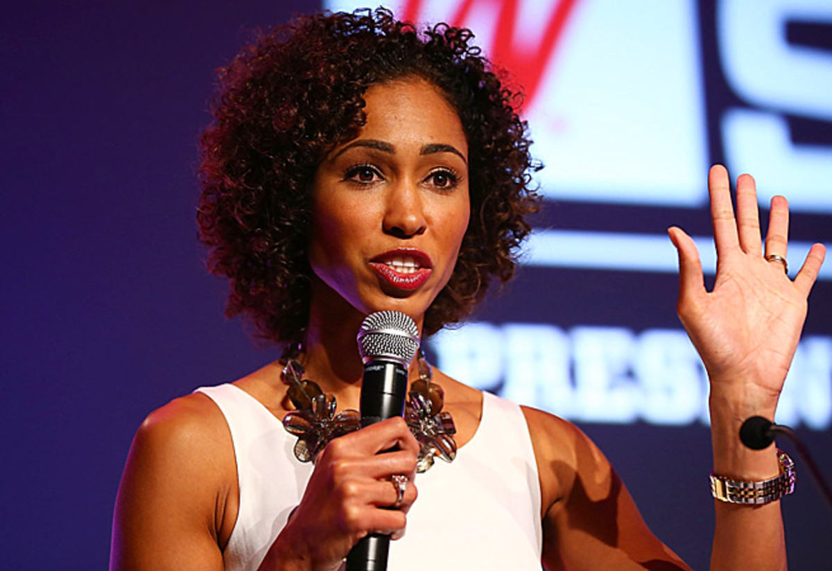 "Sage Steele, ""SportsCenter"" anchor and host of ""NBA Countdown,"" headlines the NBA media panel."