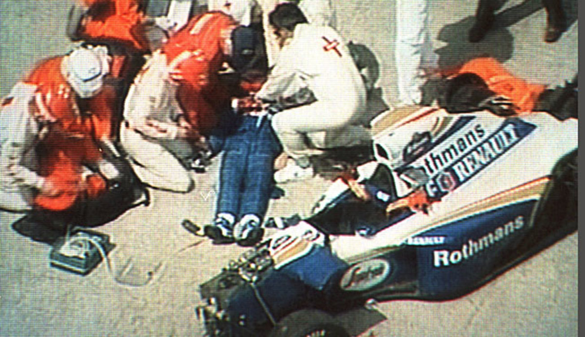 A TV image captured a rescue crew attending to Ayrton Senna moments after his crash in San Marino.