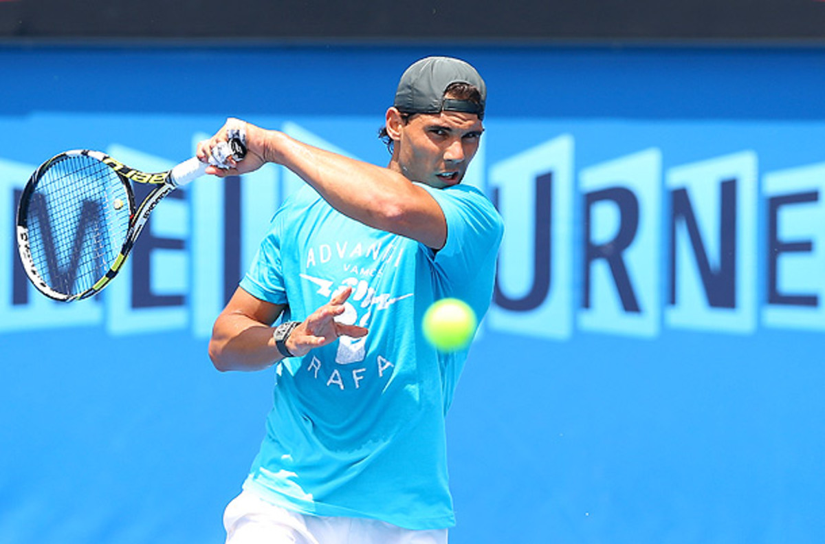 Rafael Nadal takes on Bernard Tomic in his first match of the Australian Open. (Quinn Rooney/Getty Images)