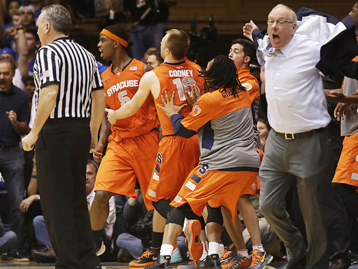 Jim Boeheim completely lost his cool after a controversial charge call on C.J. Fair (5). (Gerry Broome/AP)