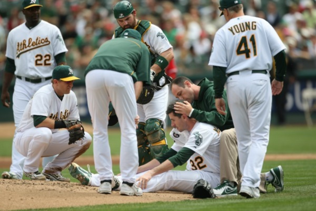 Bradnon McCarthy required brain surgery after being struck by a line drive in September of 2012. (Michael Zagaris/Getty Images)