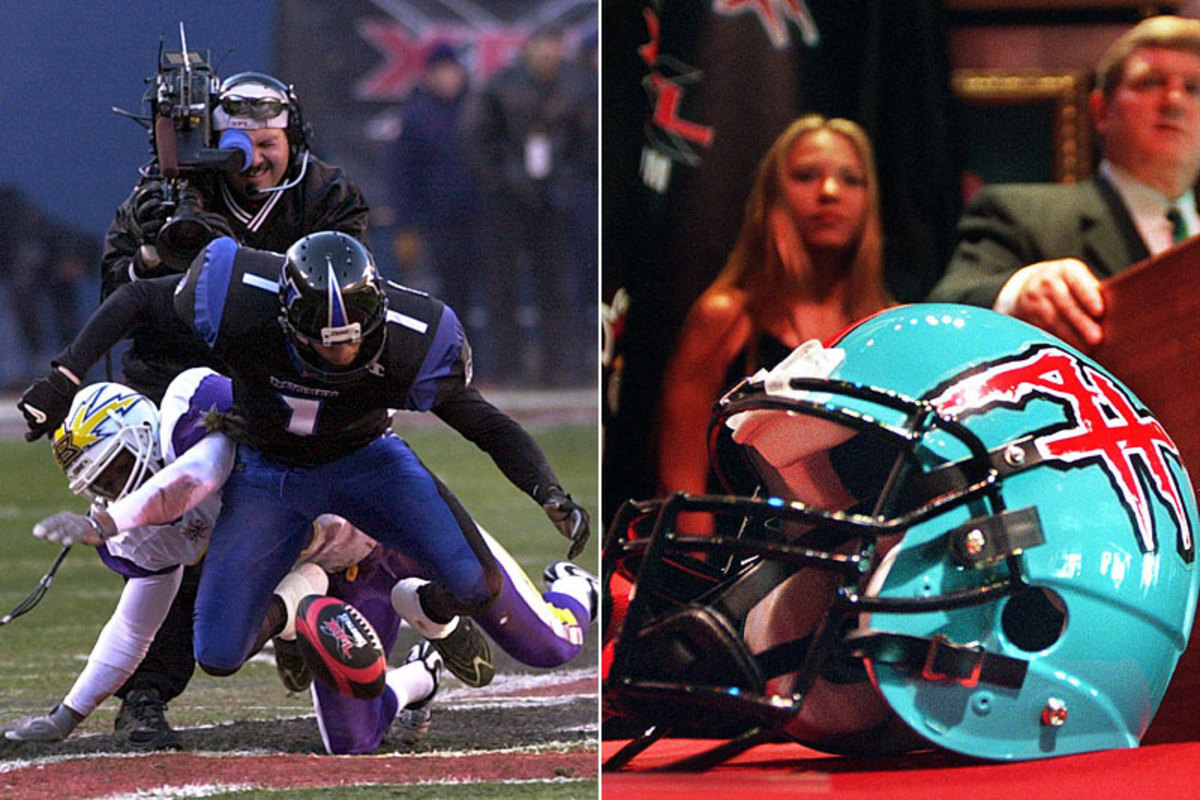 The mad scramble for the ball that replaced to coin toss in the XFL; the memorable Maniax helmet. (Bill Kostroun/AP :: A.J.Wolfe/XFL/AP)