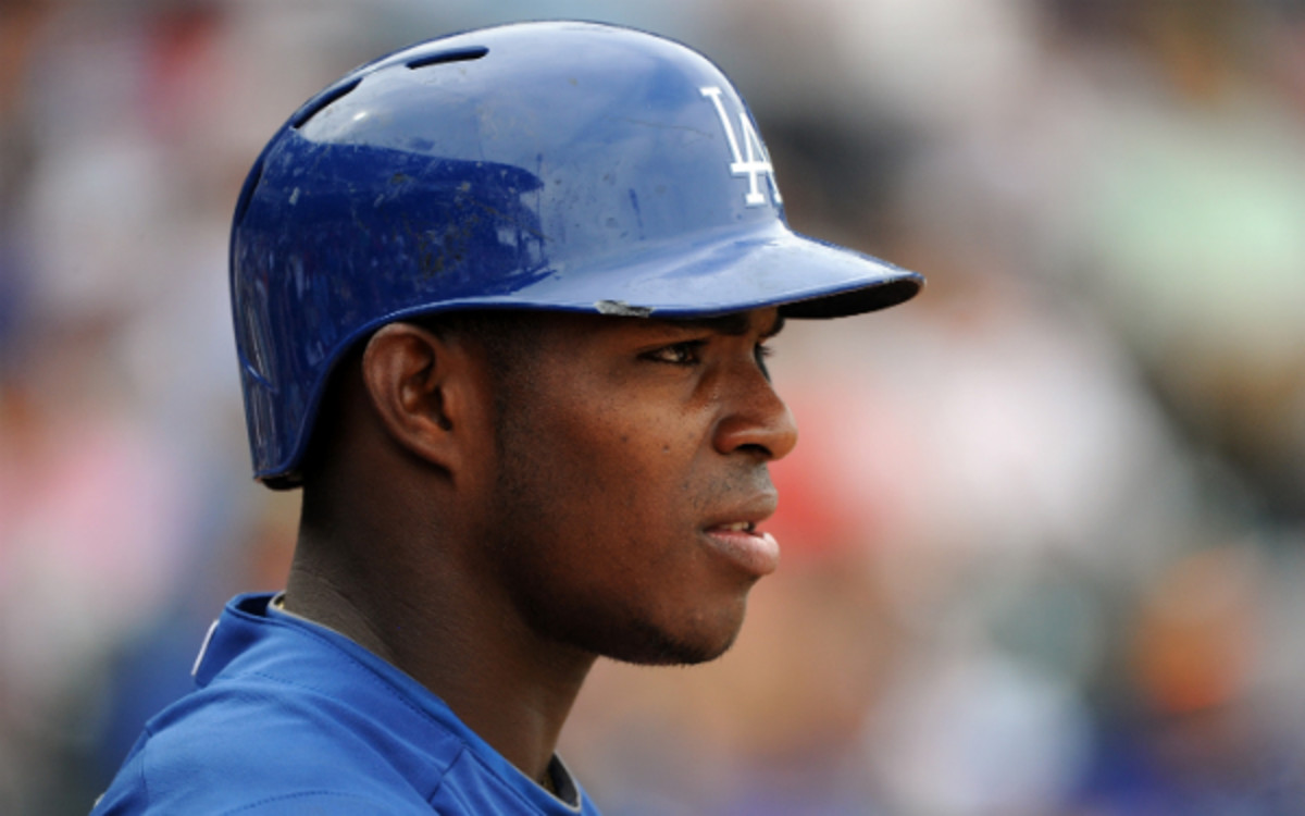 Dodgers outfielder Yasiel Puig is reportedly being sought by Jay-Z's sports agency. (Lisa Blumenfeld/Getty Images)