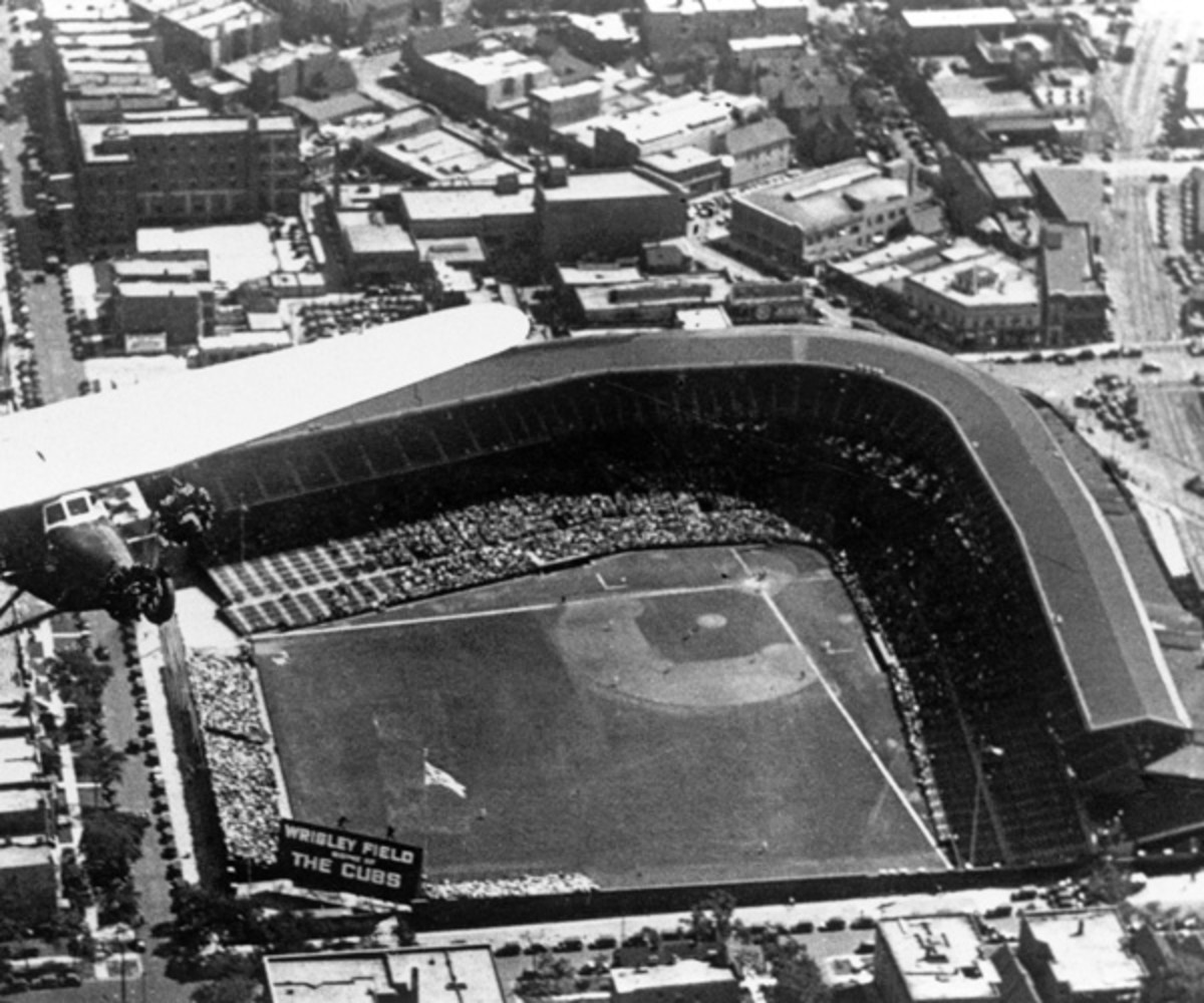 An aerial view of Wrigley Field in Chicago, Illinois.  Wrigley Field opened April 23, 1914 as the home of the Chicago Cubs. (Photo by MLB Photos via Getty Images)
