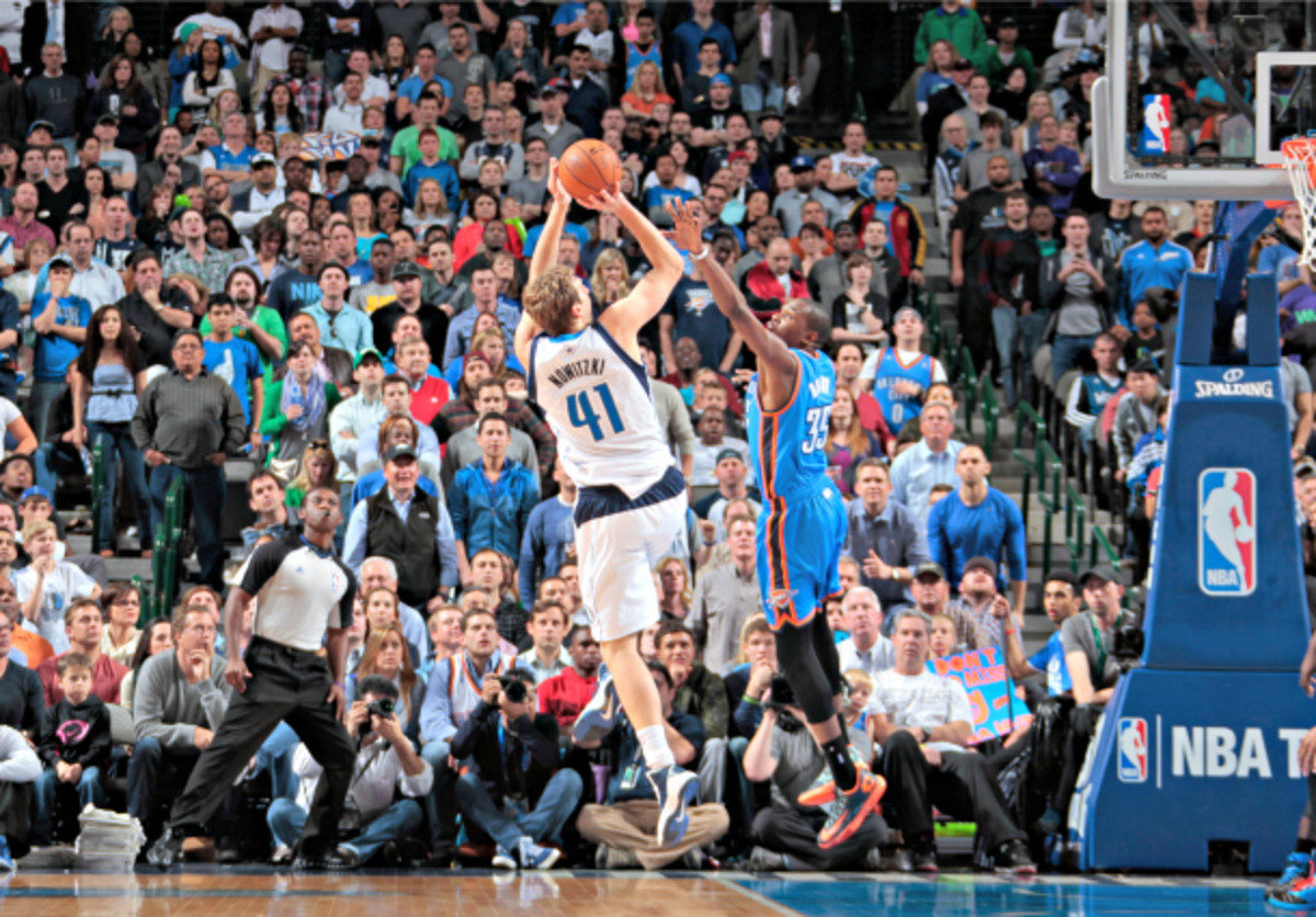 Shots like this one helped decide a close game between the Mavs and the Thunder. (Danny Bollinger/NBAE via Getty Images)