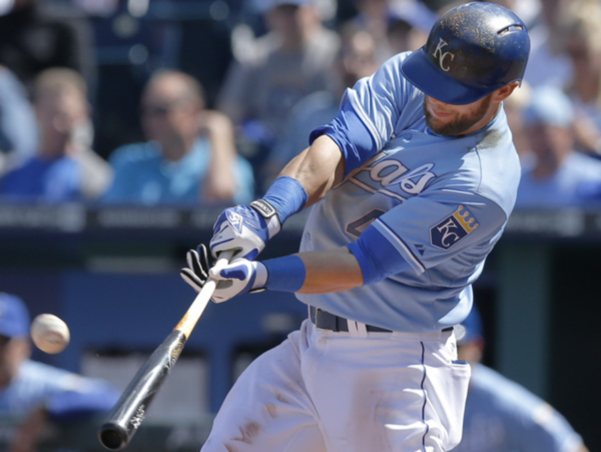 Alex Gordon, connecting on the Royals' only home run of the season to date. (Orlin Wagner/AP)