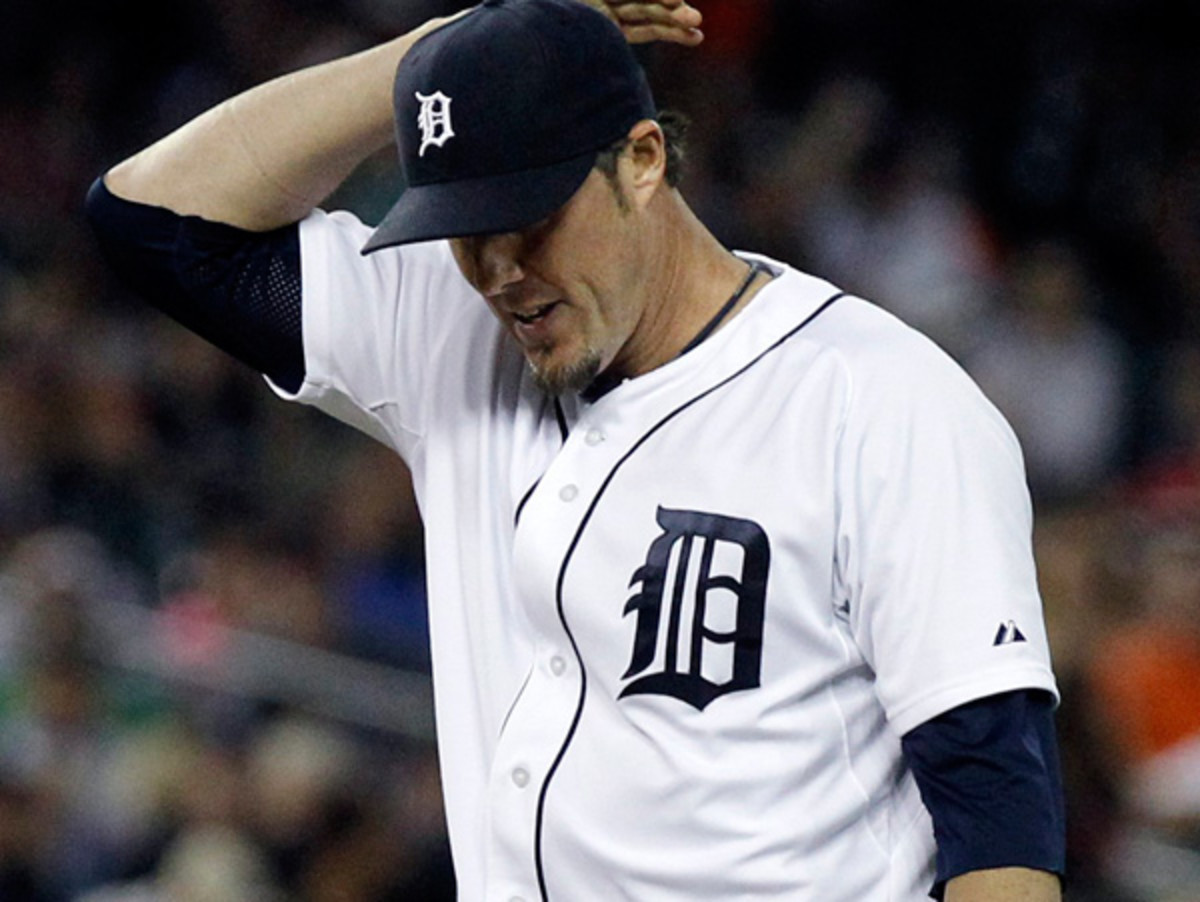 Joe Nathan has a 6.86 ERA and TK blown saves in his first season in Detroit. (Duane Burleson/Getty Images)