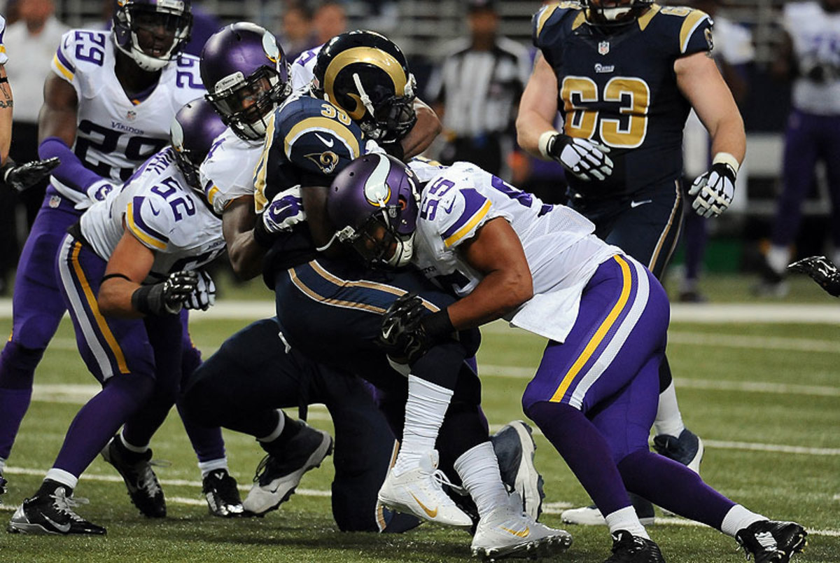 Zac Stacy and the Rams' offense was shut down in a 34-6 loss to the Vikings on Sunday. (L.G. Patterson/AP)