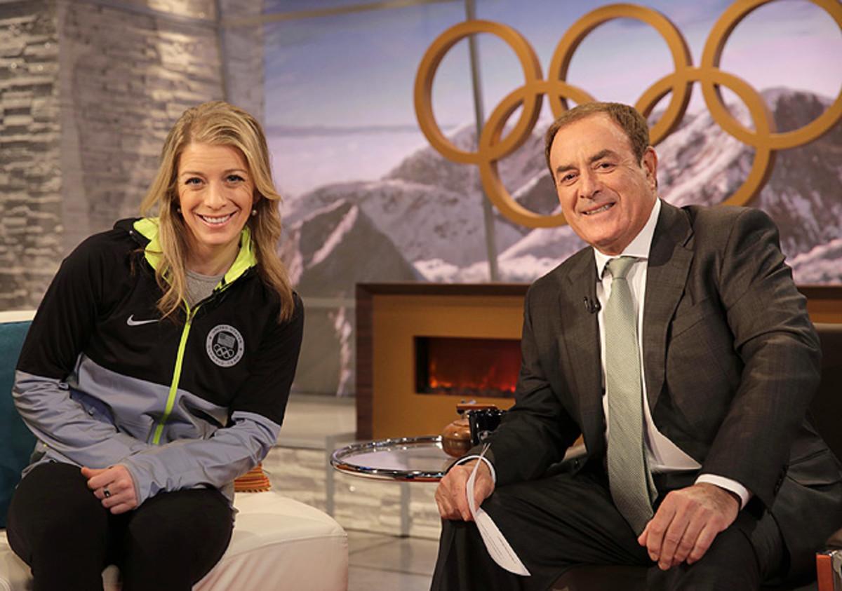 Al Michaels, with moguls bronze medalist Hannah Kearney, helped hold down NBC's Sochi coverage.
