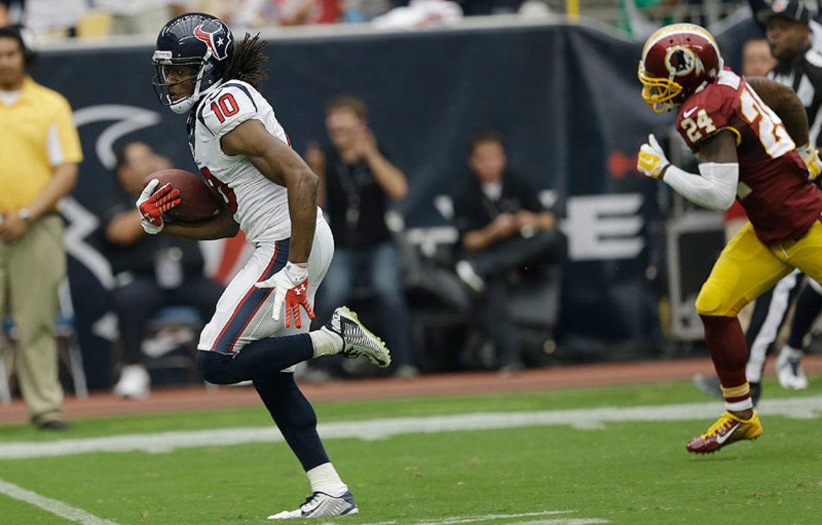 DeAndre Hopkins' 76-yard touchdown helped lift the Texans over the Redskins 17-6. (David J. Phillip/AP)