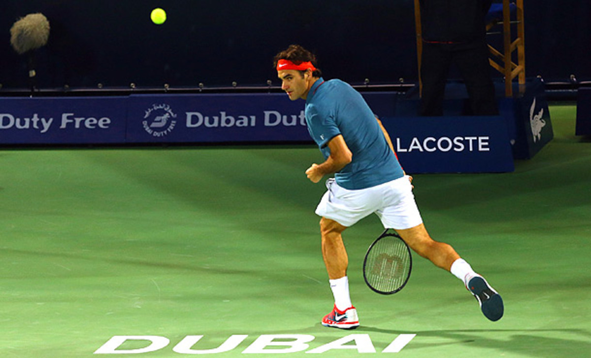 Roger Federer's tweener came at the end of a spectacular point against Benjamin Becker. (Amin Mohammad Jamali/Getty Images)