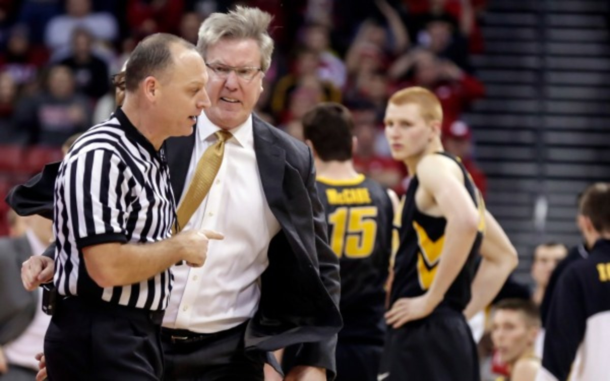 Iowa coach Fran McCaffery lights into an official during the team's loss to Wisconsin. (AP Photo/Andy Manis)