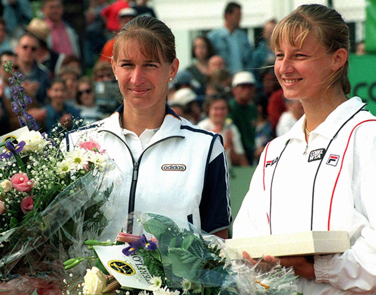 Steffi Graf, left, poses with Mirjana Lucic of Croatia in 1997.