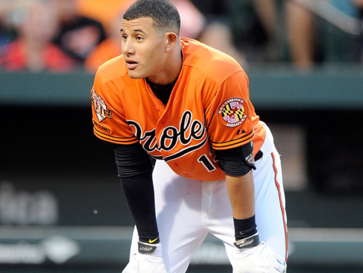 Manny Machado got a five-game suspension for throwing his bat in Sunday's game. (Greg Fiume/Getty Images)