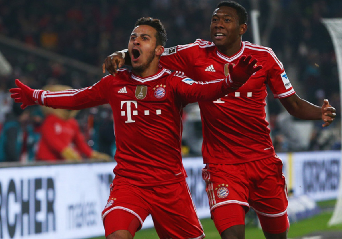 Thiago scored a goal and set up another as Bayern took down Stuttgart, 2-1, in the Bundesliga.