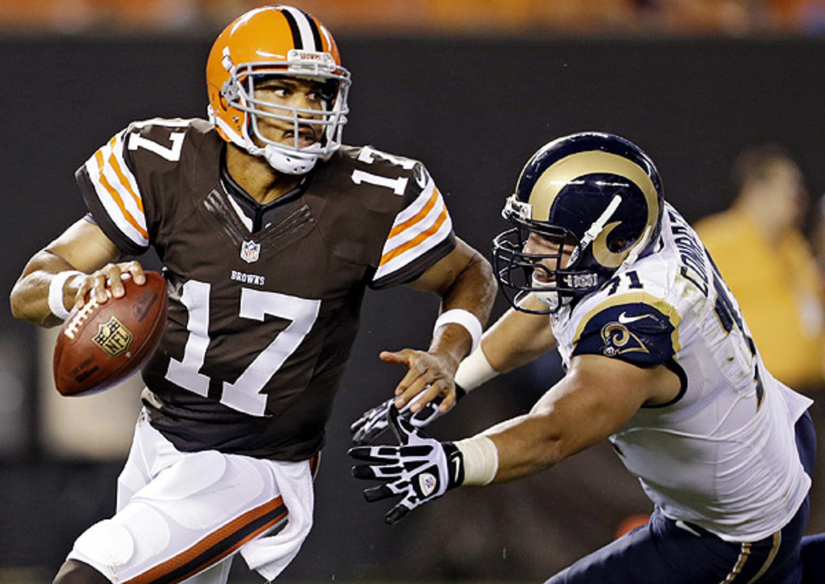 Jason Campbell, 31, (top) is just one year older than Brandon Weeden, the Browns' first-round pick in 2012.