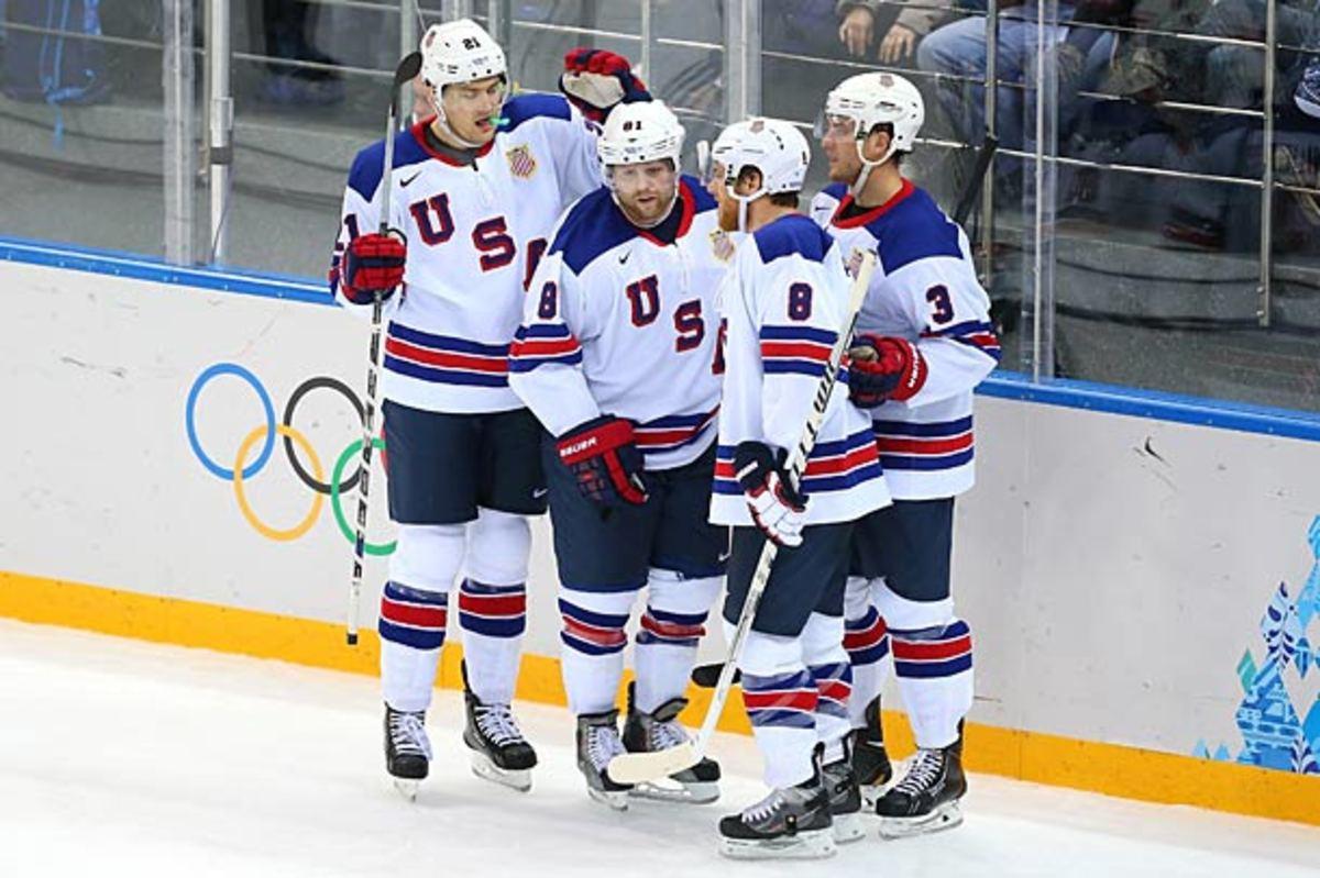 james van Riemsdyk, Phil Kessel, Joe Pavelski of Team USA in Sochi