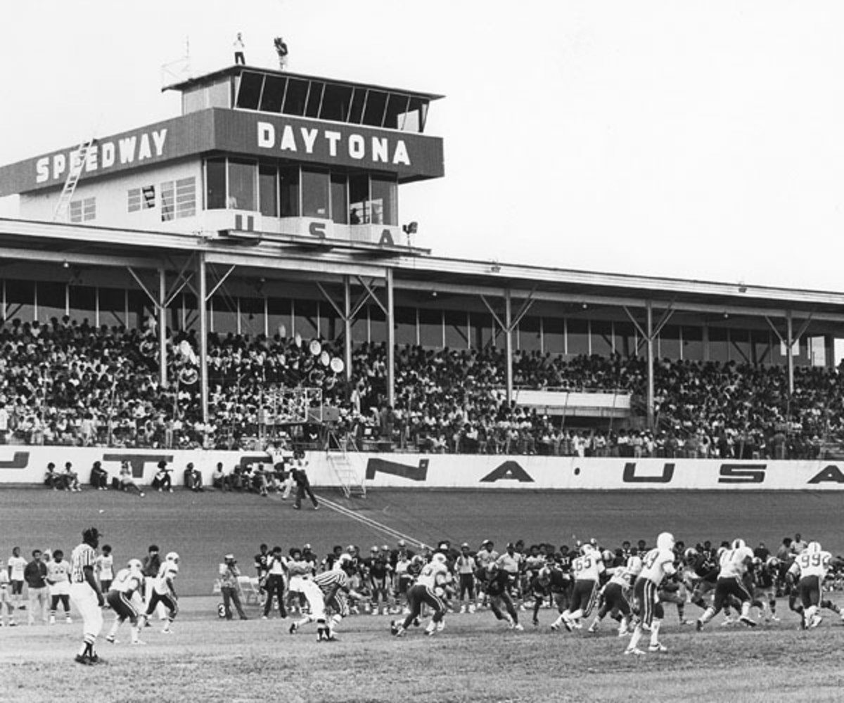 An undated football game played on the grass field at Daytona International Speedway (photo courtesy of Daytona International Speedway).
