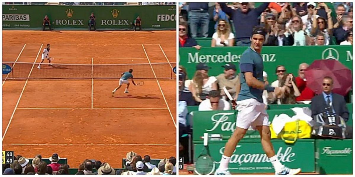 Roger Federer struts after a vintage Federer point. (Screengrab from TennisTV)