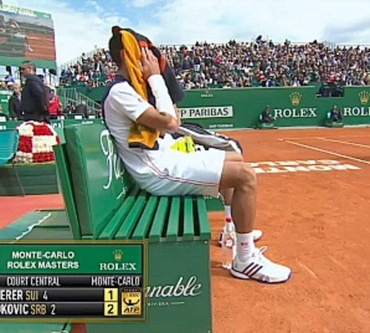Novak Djokovic's heavy tape job hasn't hindered him so far. (Screengrab from TennisTV)