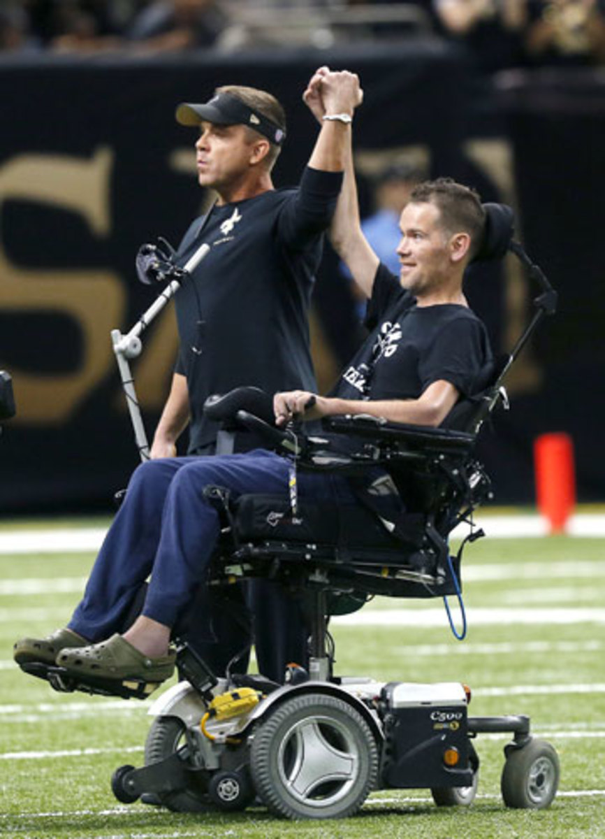 Gleason and Sean Payton before a Saints game in September 2013. (Bill Haber/AP)