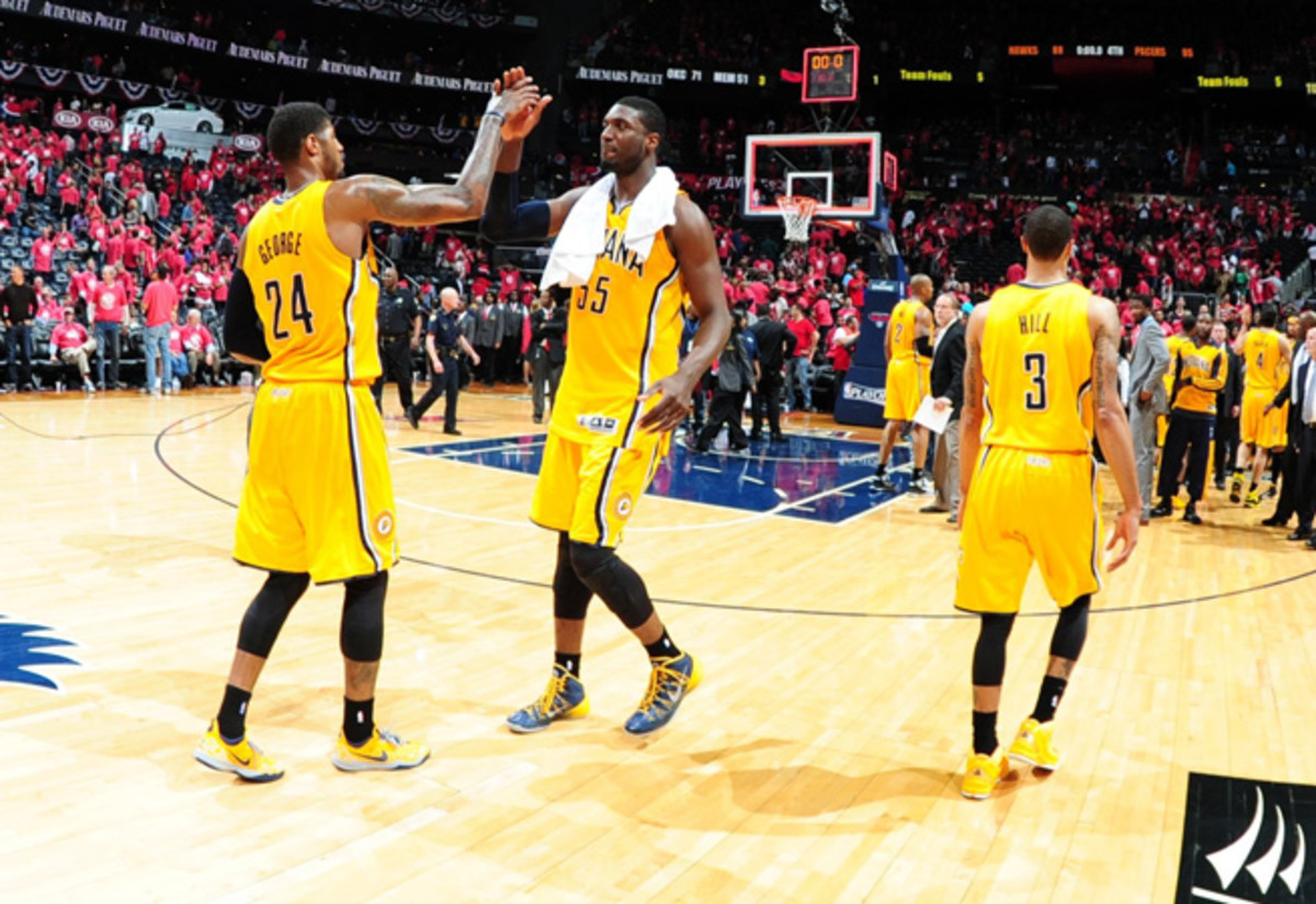 Roy Hibbert (55) was mostly reduced to cheerleading in the Pacers' Game 6 win over the Hawks.