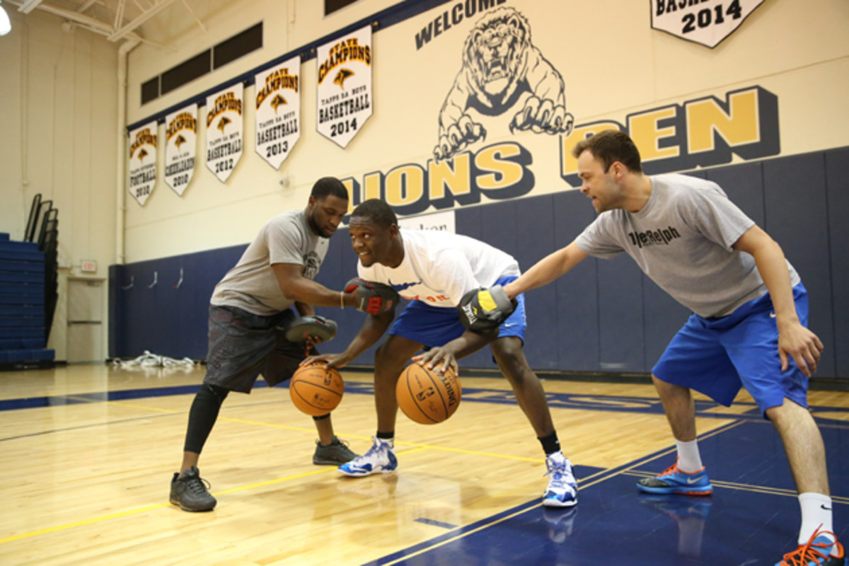 University of Kentucky power forward and projected lottery draft pick Julius Randle works out with trainers at the Michael Johnson Performance Center in preparation for the NBA Draft.