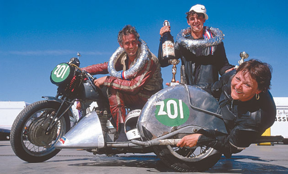 The sidecar-racing Thompsons (from left, Tom, Tiny and truly tiny mom Cheryl) believe travel educates.
