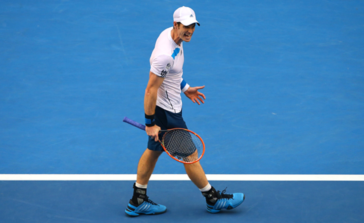 Andy Murray was less than pleased with his performance in the third set against Stephane Robert. (Chris Hyde/Getty Images)