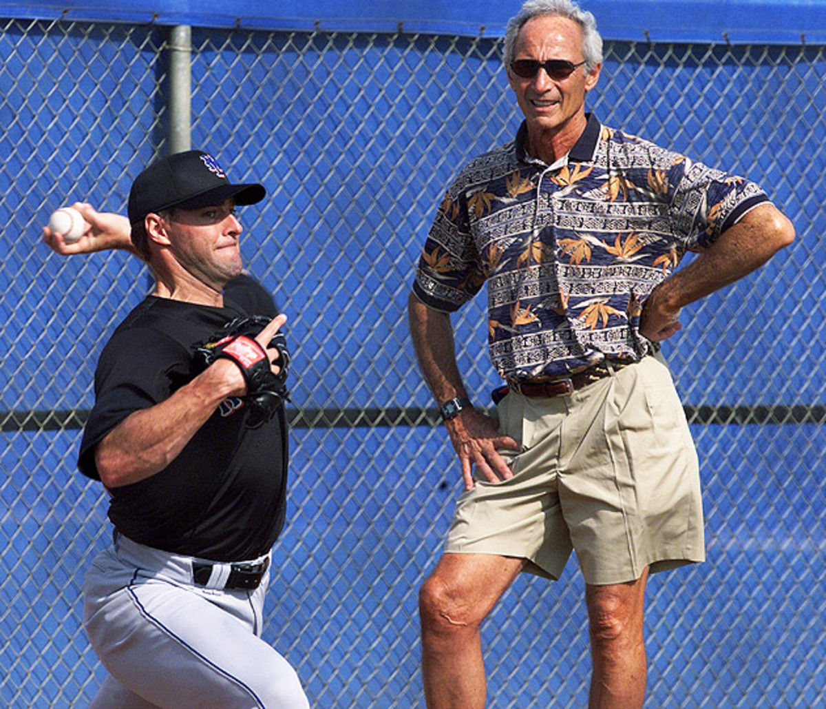Koufax, watching Mets spring training in 2002, mentored Al Leiter later in the lefthander's career.