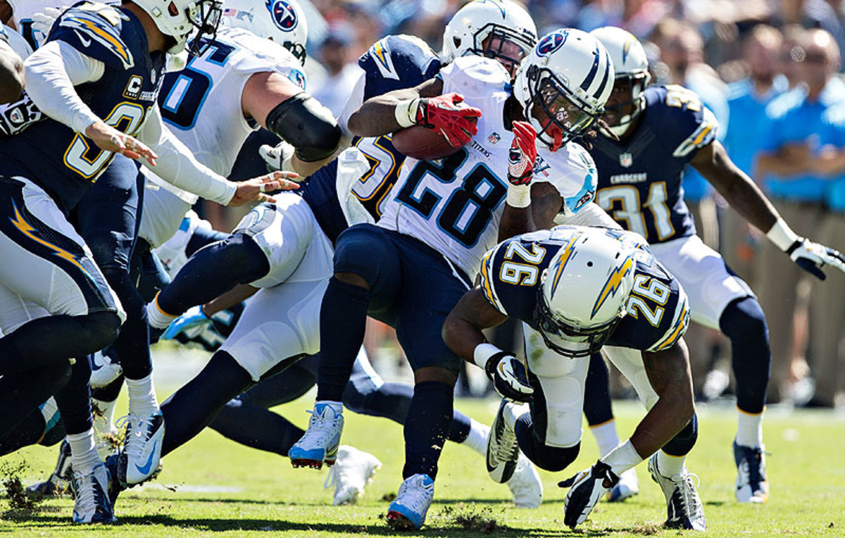 Unable to drum up interest on the trade market, the Titans likely will release Chris Johnson, who is due to make $8 million in 2014. Johnson's yards per carry average dipped to 3.9 in 2013. (Wesley Hitt/Getty Images)