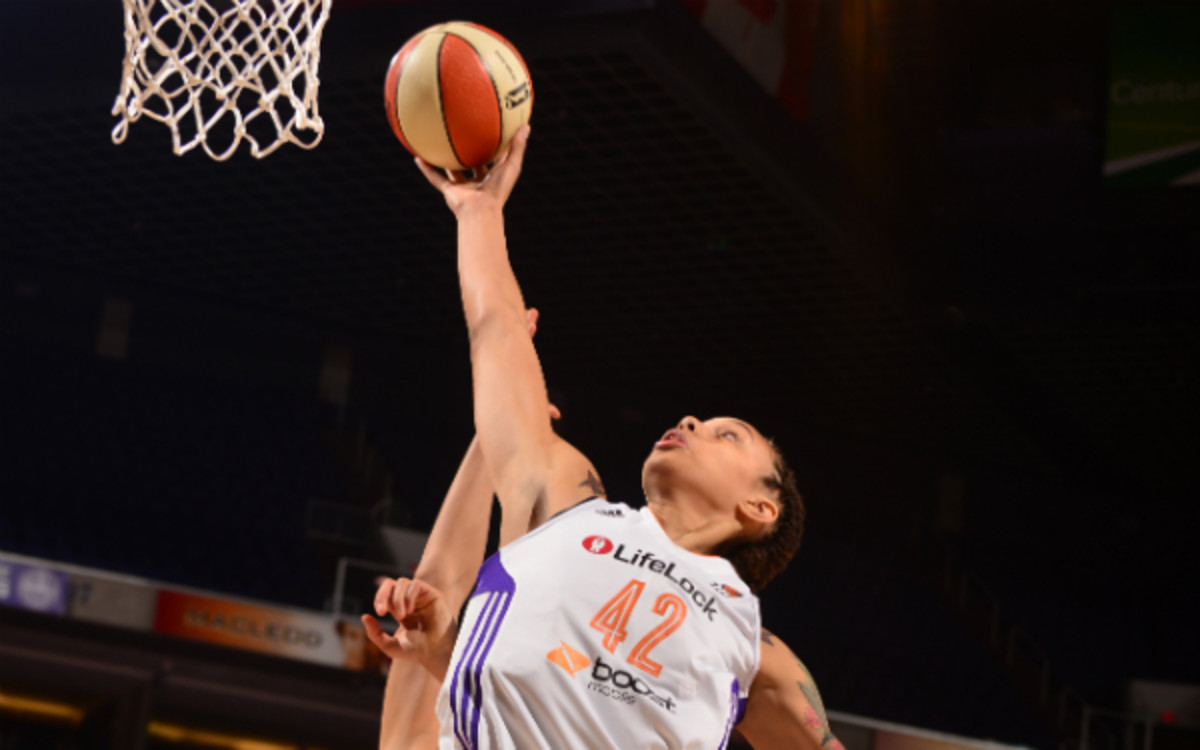 Rookie Brittney Griner became the first WNBA player to dunk twice in one game. (Barry Gossage/Getty Images)