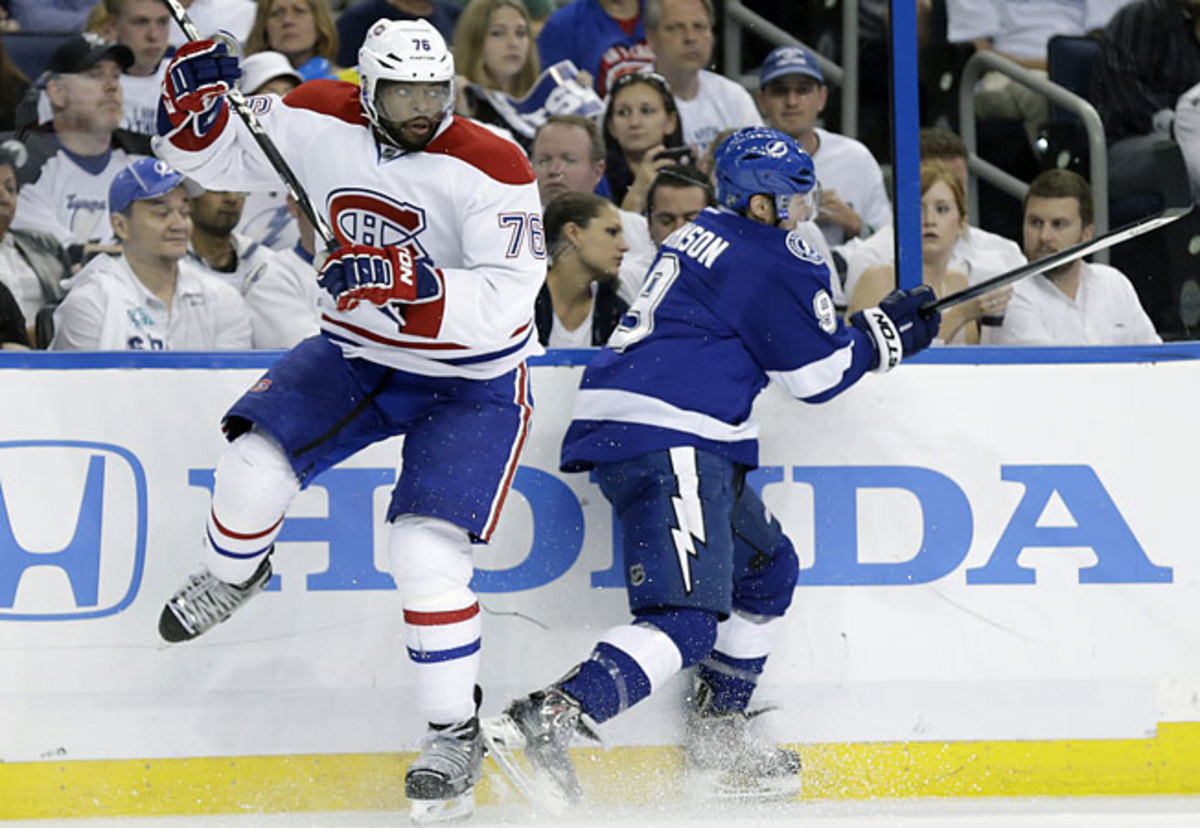 Canadiens defenseman P.K. Subban (76) had two assists in the win over the Lightning. (AP Photo/Chris O'Meara)
