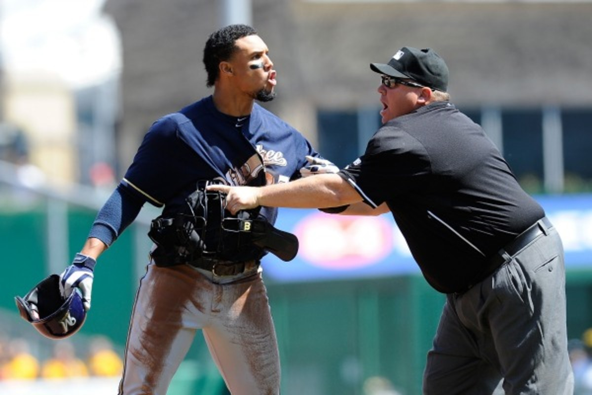 Carlos Gomez doesn't always make nice on the baseball field. (Joe Sargent/Getty Images)