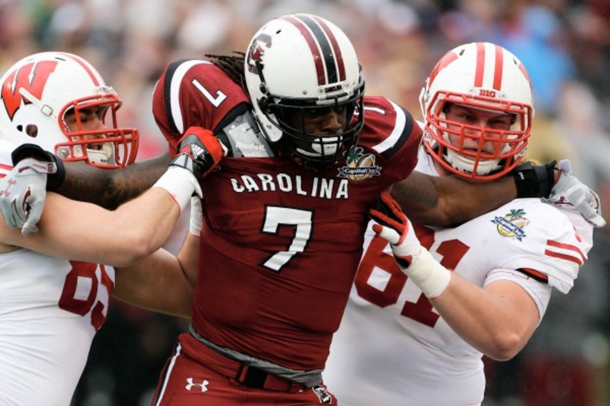 Jadeveon Clowney is expected to be a top five pick in the May's NFL Draft. (Scott Halleran/Getty Images)