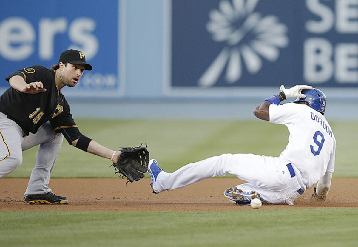 Dodgers second baseman Dee Gordon (right) has blown away the field with 34 stolen bases in the first two months of the 2014 season.
