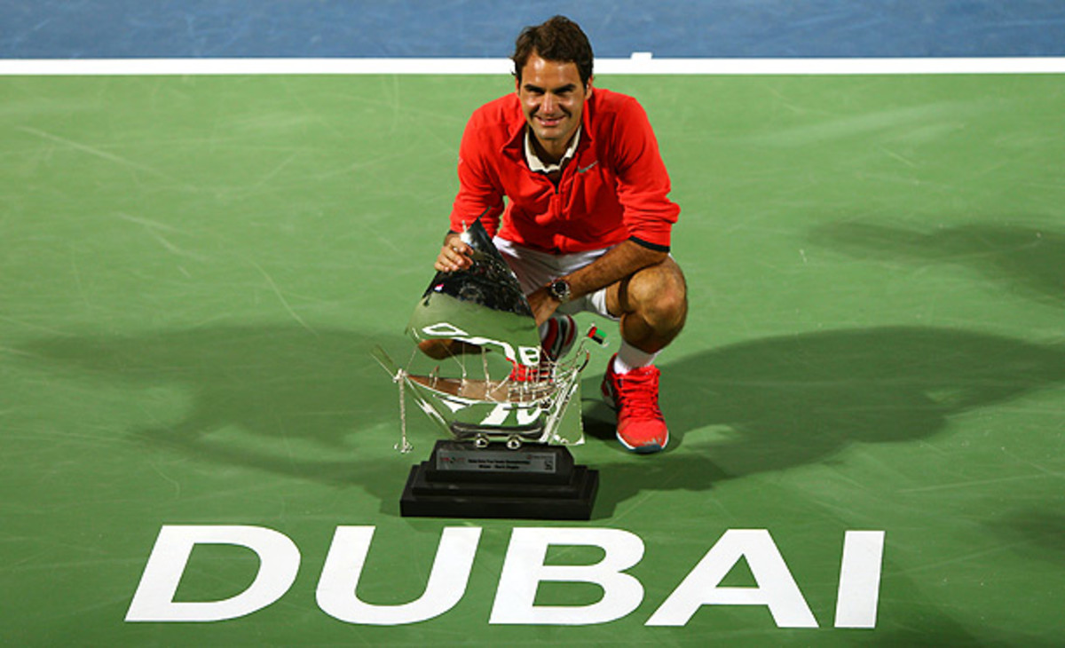 Roger Federer won his 78th  ATP title in Dubai. (MARWAN NAAMANI/AFP/Getty Images)