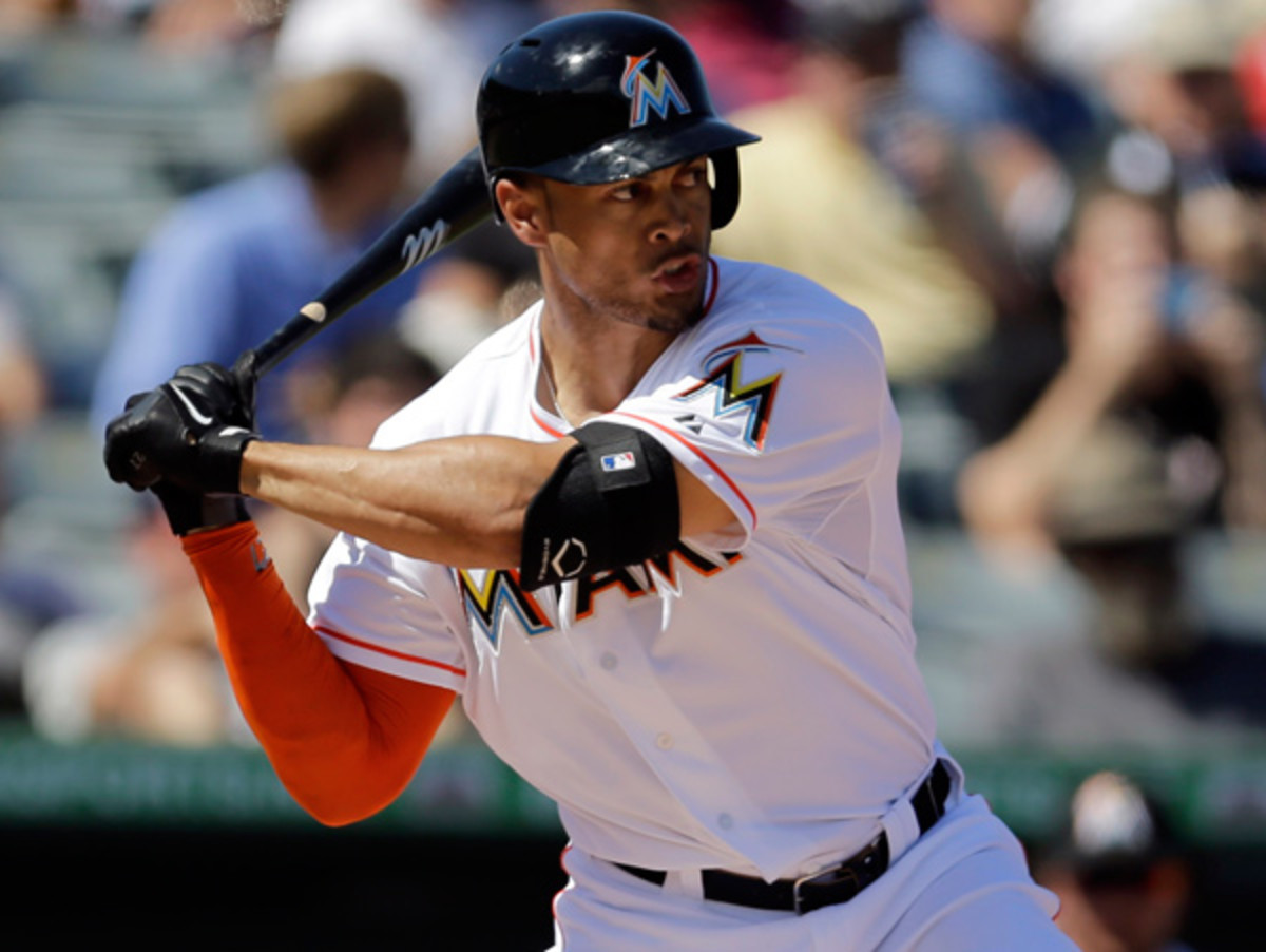 Giancarlo Stanton, who was in Thursday's lineup against the sort-of-Red Sox. (Jeff Roberson/AP)