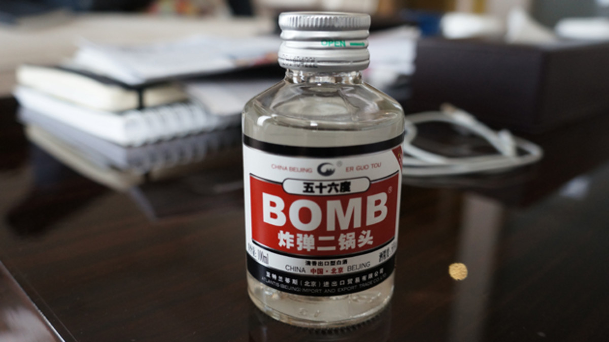 "A 100ml bottle of ""Bomb,"" which is either white wine or vodka."