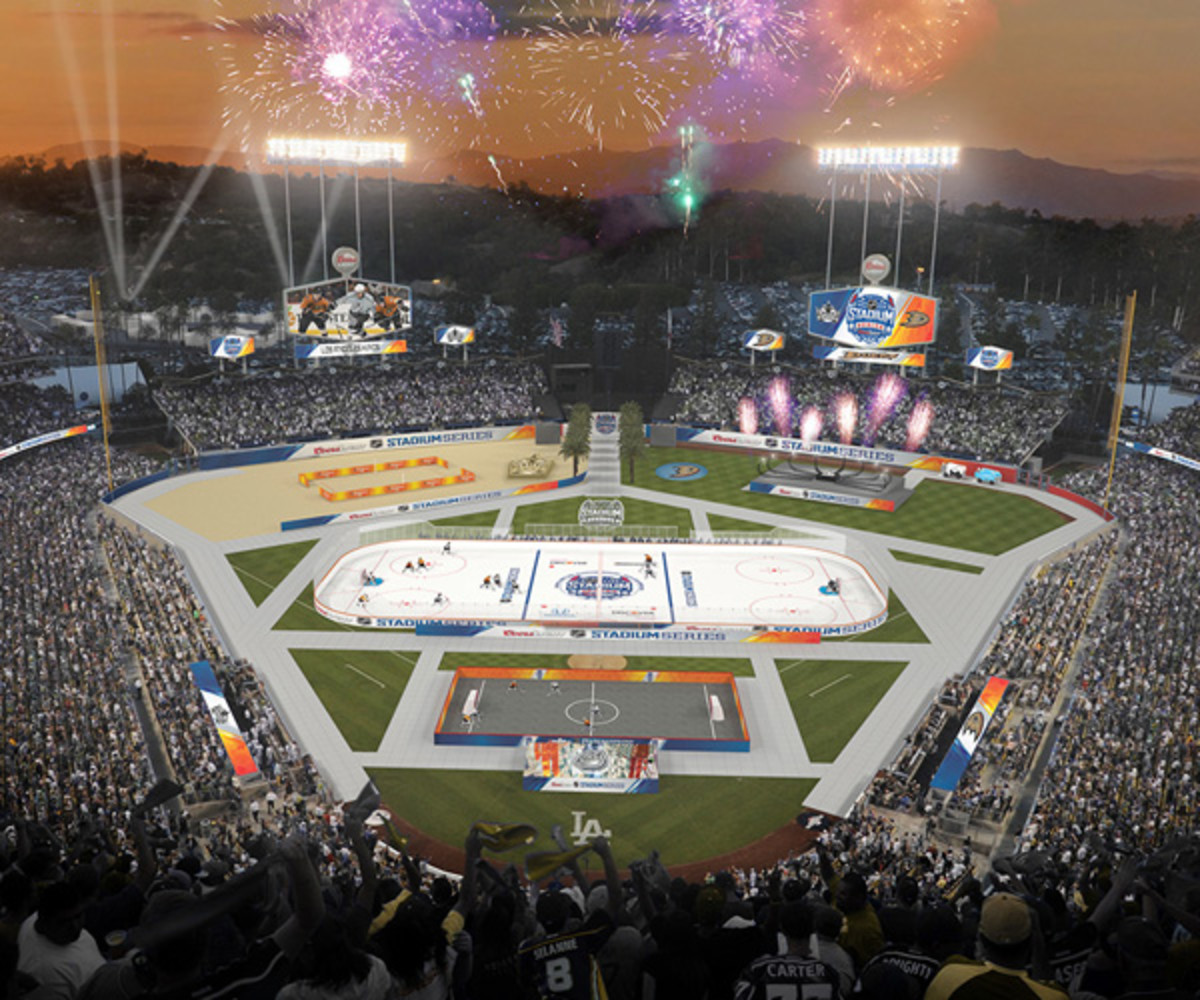 A rendering of the final look for Dodger Stadium's outdoor game on Jan. 25.