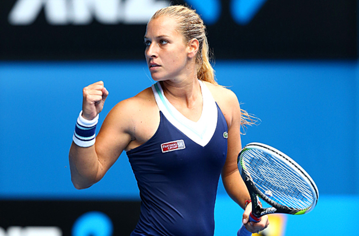 Dominika Cibulkova shocked Maria Sharapova in the fourth round of the Australian Open. (Ryan Pierse/Getty Images)