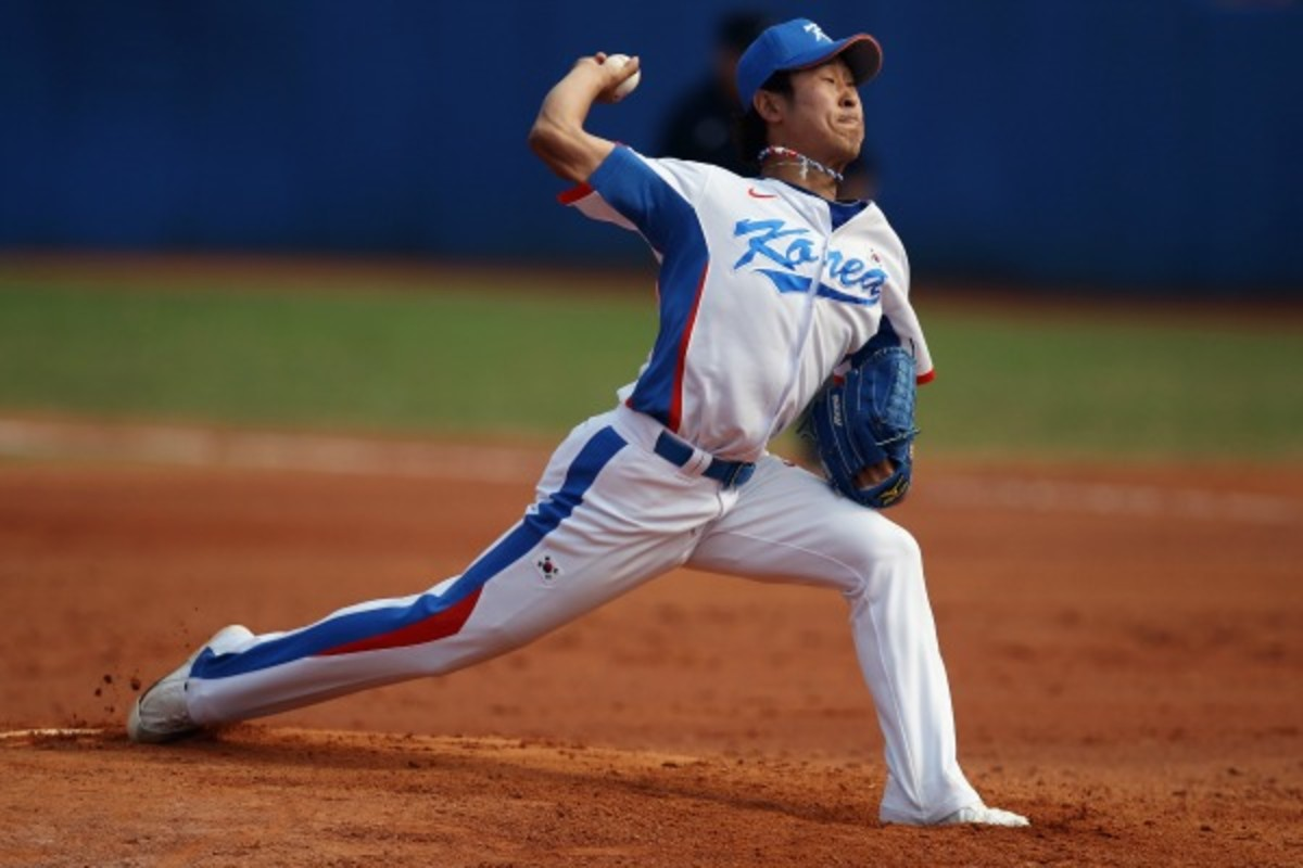 Suk-Min Yoon is considered the Korean league's best pitcher. (Hannah Johnston/Getty Images)