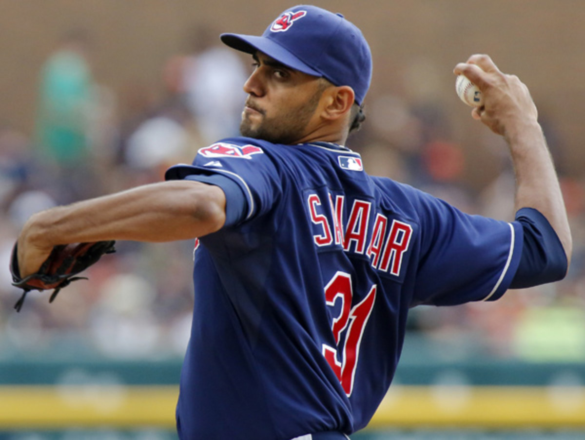 Danny Salazar leads an Indians rotation with some question marks into 2014. (Duane Burleson/AP)