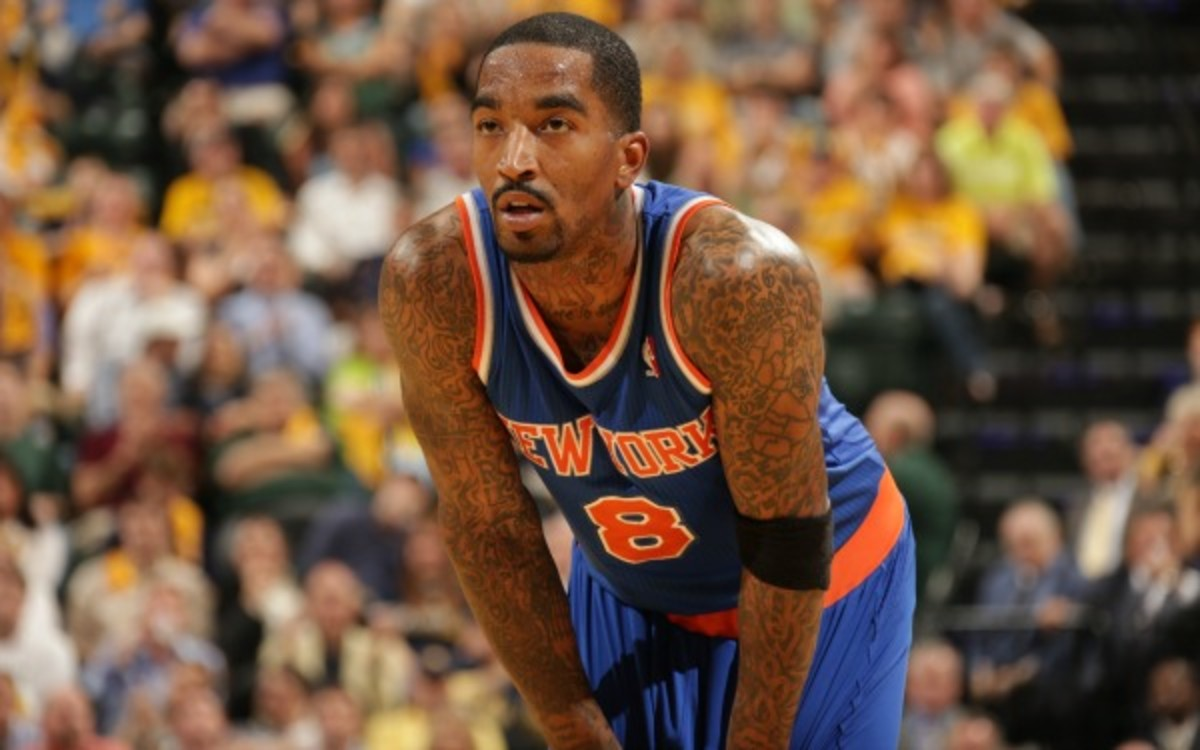 J.R. Smith said Saturday that there is still swelling in his left knee. (Ron Hoskins/Getty Images)