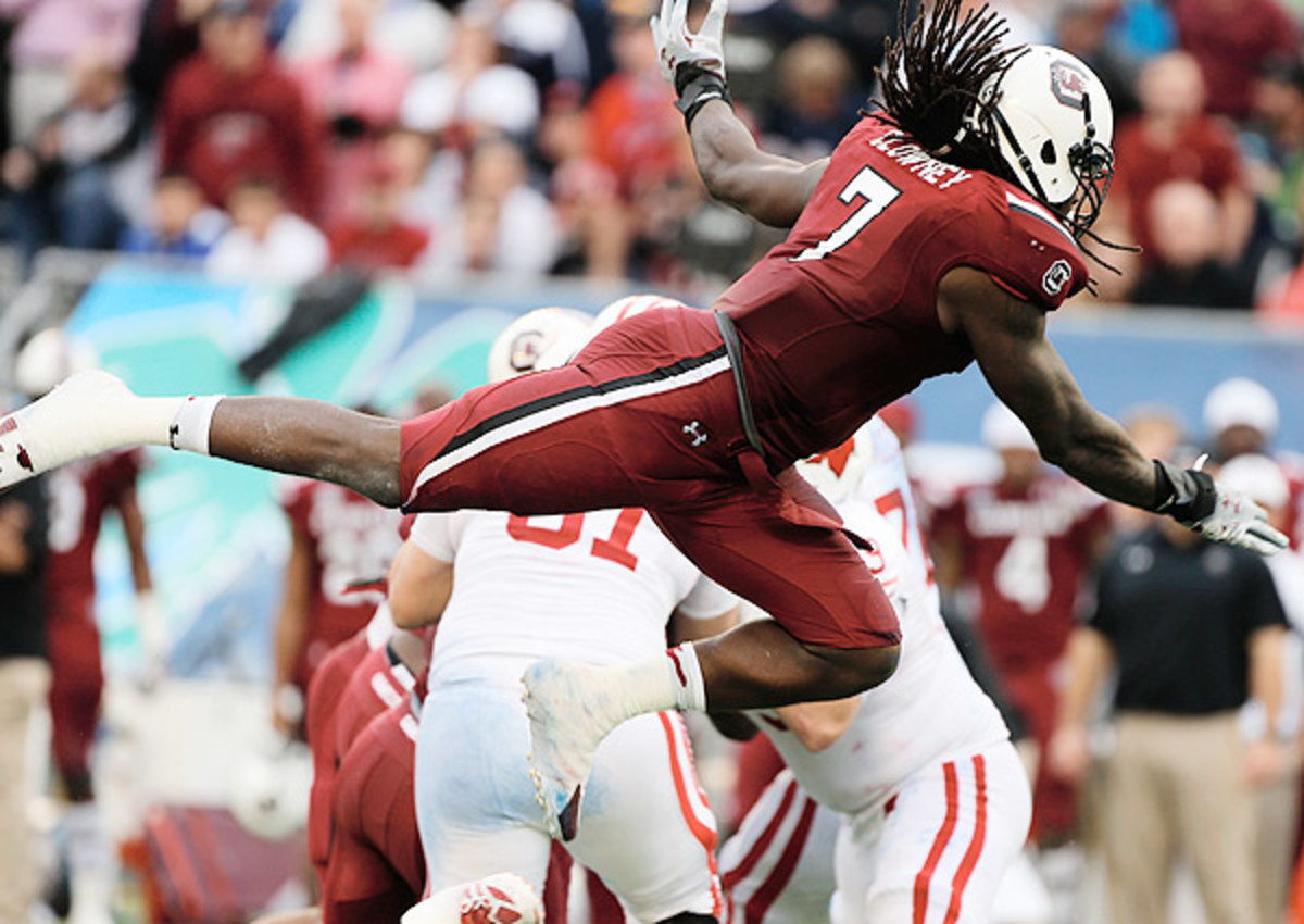 """Jadeveon Clowney runs 4.47 40 at 2014 NFL combine: 'I want to be one of the greatest of all time,"""" Jadeveon Clowney said. """"And the NFL is the next stepping stone.'"""