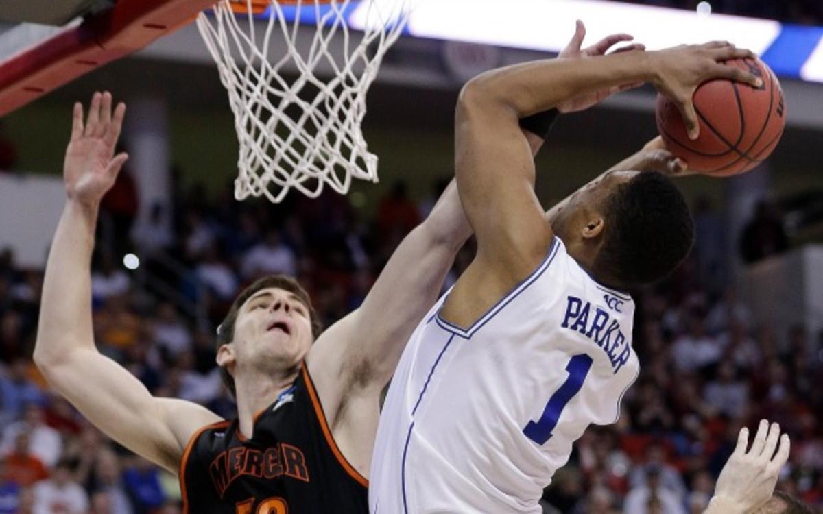Jabari Parker missed 10 of his 14 shots in Duke's 78-71 upset loss to 14th seeded Mercer. (AP Photo/Chuck Burton)