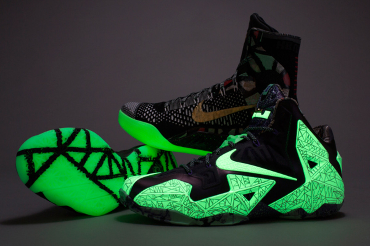 The All-Star Game sneakers for Kevin Durant, Kobe Bryant and LeBron James glow in the dark. (Nike)